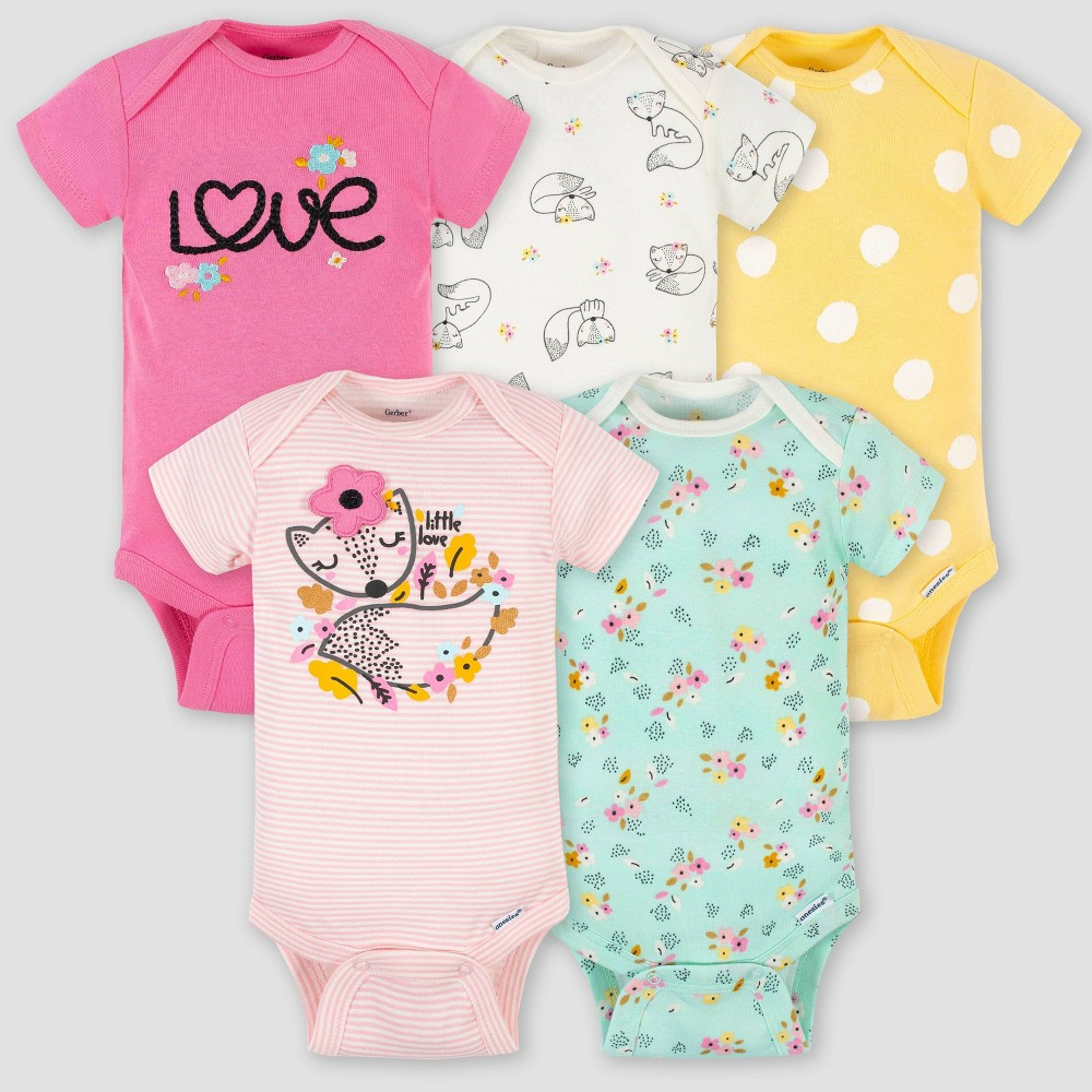 Gerber Baby Girls 39 5pk Fox Short Sleeve Onesies Pink Green Yellow 3 6m