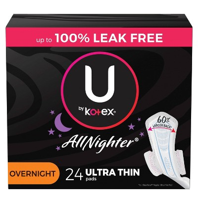 U by Kotex AllNighter Ultra Thin Overnight Pads with Wings