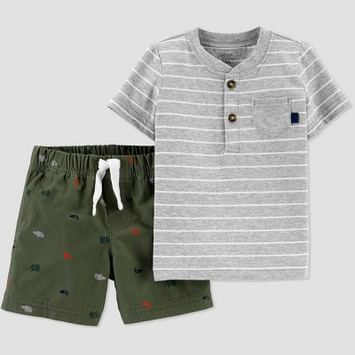 Baby Boys' Henley Shifley Top & Bottom Set - Just One You® made by carter's Olive Green Newborn