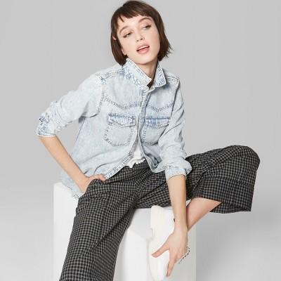 408744182572c Women s Long Sleeve Denim Button-Down Shirt - Wild Fable™