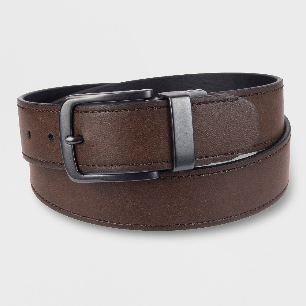 Image of DENIZEN from Levi's Men's 38MM Reverse Edge With Stitch Belt - Brown XL, Men's