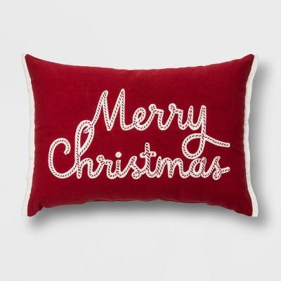 'Merry Christmas' Lumbar Throw Pillow Red - Threshold™