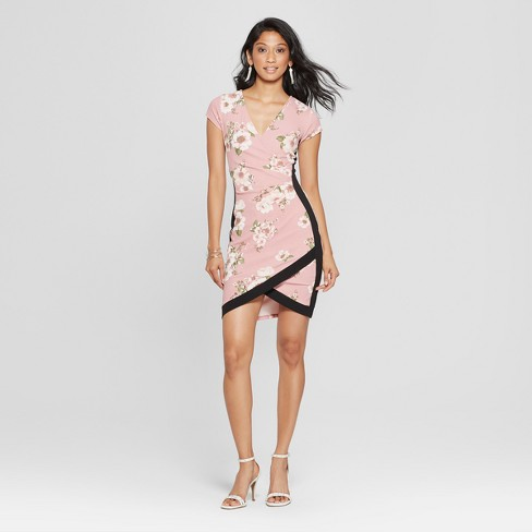 Women's Floral Print Short Sleeve Framed Wrap Dress - Almost Famous (Juniors') Pink - image 1 of 2