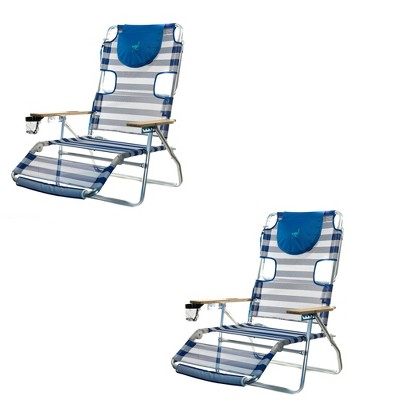 Ostrich 3-N-1 Lightweight Comfortable Aluminum Multi-Position Relaxing Reclining Beach Chair, Striped (2 Pack)