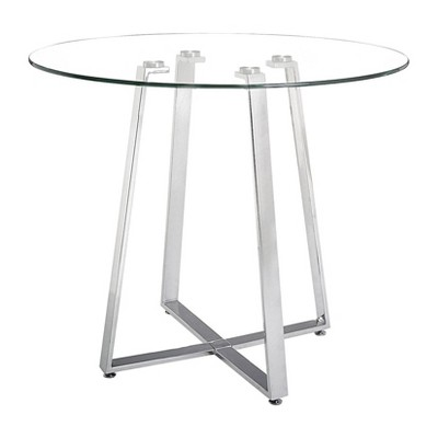 """40"""" Modern Round Tempered Glass and Chromed Steel Counter Height Table - ZM Home"""