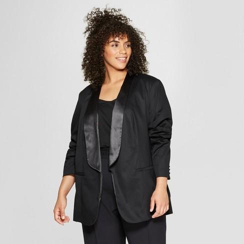 Women\'s Plus Size Tuxedo Blazer - Who What Wear™ Black : Target