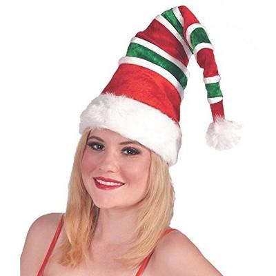 Forum Novelties Red & Green Striped Santa Unisex Costume Hat
