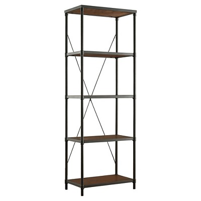 "74.25"" Webster 4 Shelf Mixed Media Bookshelf Black - Inspire Q"