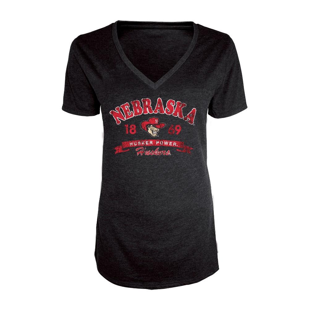 Nebraska Cornhuskers Women's Short Sleeve Heathered V-Neck T-Shirt - L, Multicolored