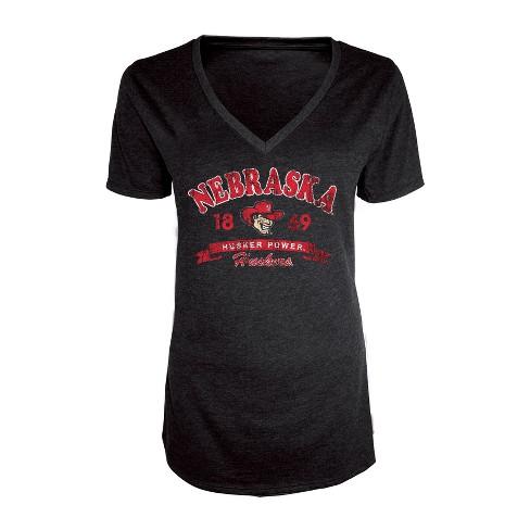 Nebraska Cornhuskers Women's Short Sleeve Heathered V-Neck T-Shirt - image 1 of 1