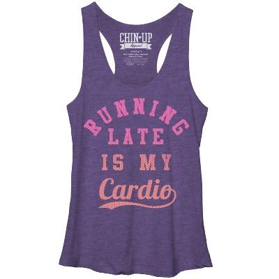 Women's CHIN UP Running Late is My Cardio Racerback Tank Top