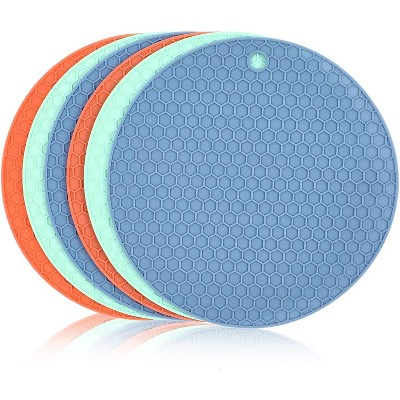 6-Pack Round 7-inch Silicone Hot Pot Holder Trivet Mat Pad - Blue, Teal, Salmon