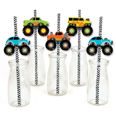 Big Dot of Happiness Smash and Crash - Monster Truck - Paper Straw Decor - Boy Birthday Party Striped Decorative Straws - Set of 24