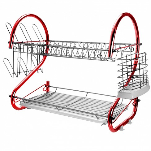 MegaChef 16 Inch Two Shelf Dish Rack in Blue - image 1 of 4