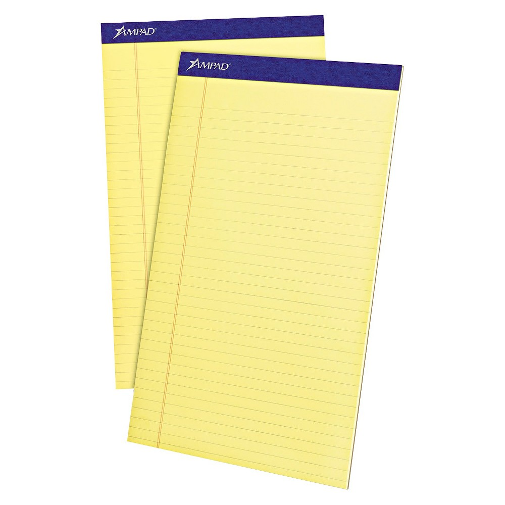 Ampad 8 1/2 x 14 Writing Pad, Legal Rule, Legal, Micro Perfed- Canary (Yellow) (12 50-Sheets, 12pk)