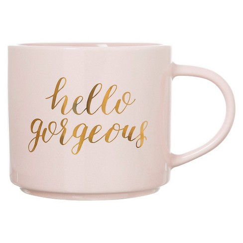 15oz Porcelain Hello Gorgeous Stackable Mug Pink/Gold - Threshold™ - image 1 of 1
