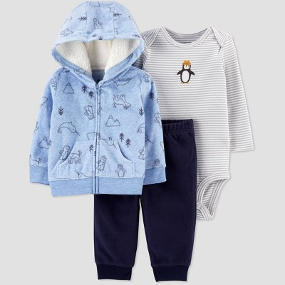 Baby Boys' 3pc Penguin Bodysuit, Cardigan Top & Bottom Set - Just One You® made by carter's Blue Newborn