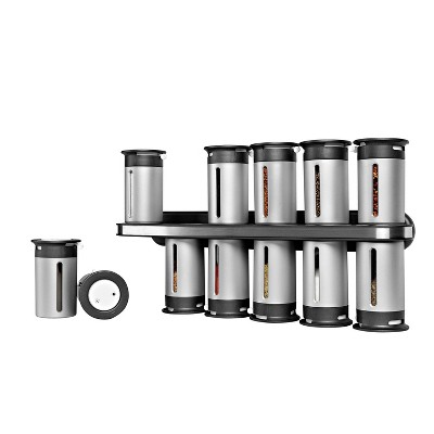 Zevro Zero Gravity Wall-Mount 12 Canister Magnetic Spice Rack - Silver