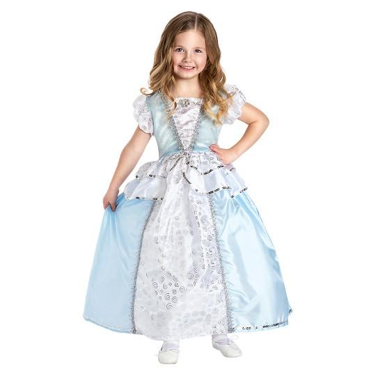 Little Adventures Girls' Cinderella Dress - L, Size: Large, Blue/Black/Silver image number null