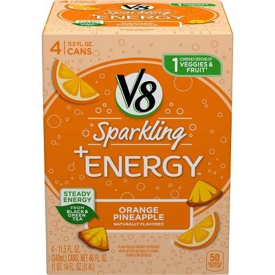 V8 Sparkling +Energy Orange Pineapple Juice Drink - 4pk/11.5 fl oz Cans