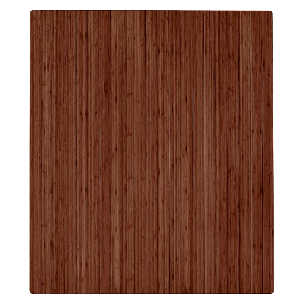 "Image of ""3'5""""X4' Bamboo Roll-Up Chairmat With No Lip Brown - Anji Mountain"""