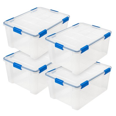 IRIS 60qt 4pk Weather Tight Storage Box Clear