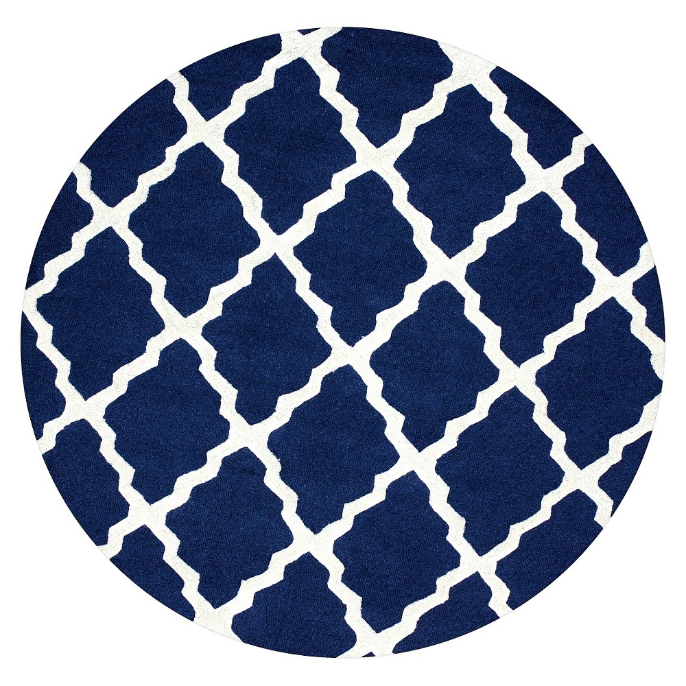 Best Buy NuLOOM 100 Wool Hand Hooked Marrakech Trellis Area Rug Blue 6 X 6 Round