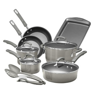 Rachael Ray Classic Brights 14pc Porcelain Enamel Nonstick Cookware Set Gray