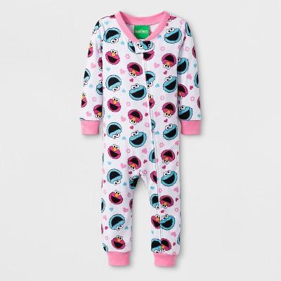 Baby Girls' Sesame Street Cookie Monster/Elmo Blanket Sleeper - White/Blue/Red 12M