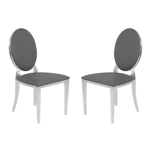 Cielo Contemporary Dining Chair Set of 2 in Gray Faux Leather with Brushed Stainless Steel Finish - Armen Living - image 1 of 8