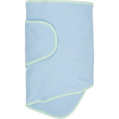 Miracle Blanket Swaddle Wrap - Blue with Green Trim