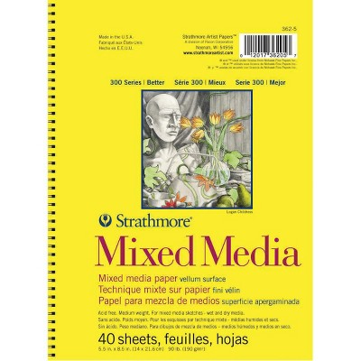 Strathmore 300 Series Mixed Media Pad, 5-1/2 x 8-1/2 Inches, 90 lb, 40 Sheets