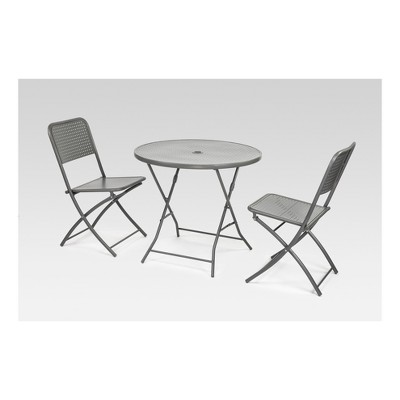 Metal Punch Folding Patio Bistro Set - Silver - Project 62™