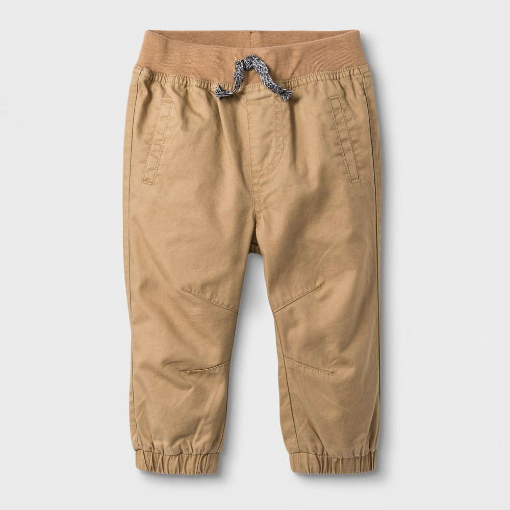Baby Boys' Pull On Twill Pants - Cat & Jack Khaki 0-3M, Brown
