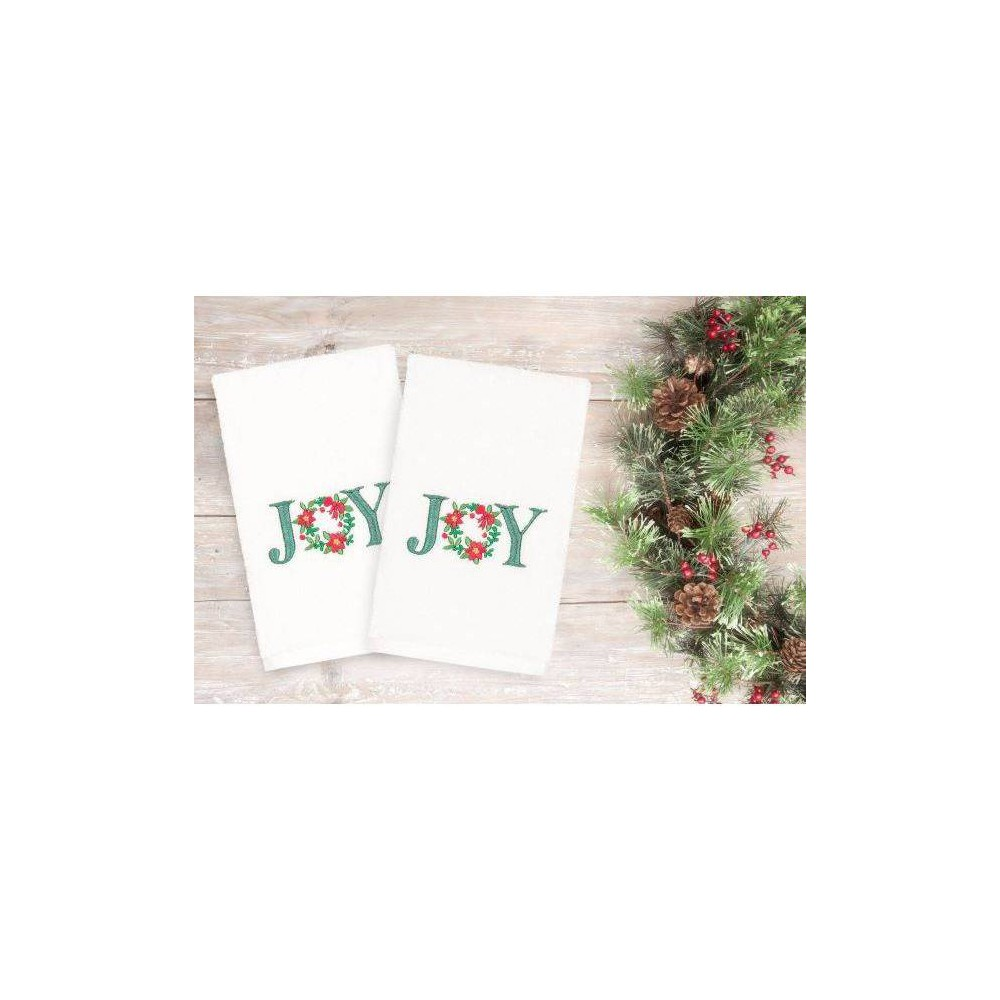 Image of 2pk Joy Holiday Hand Towels - Linum Home Textiles, White