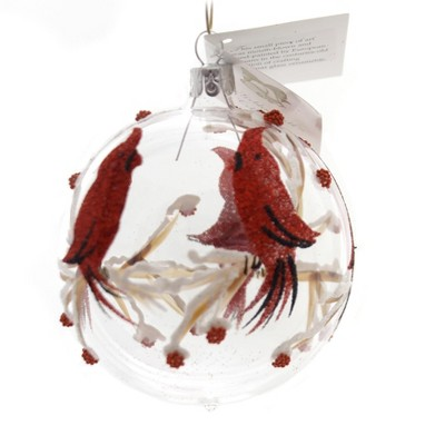 """Golden Bell Collection 3.25"""" Clear Ball With Cardinals Ornaments Red Birds  -  Tree Ornaments"""