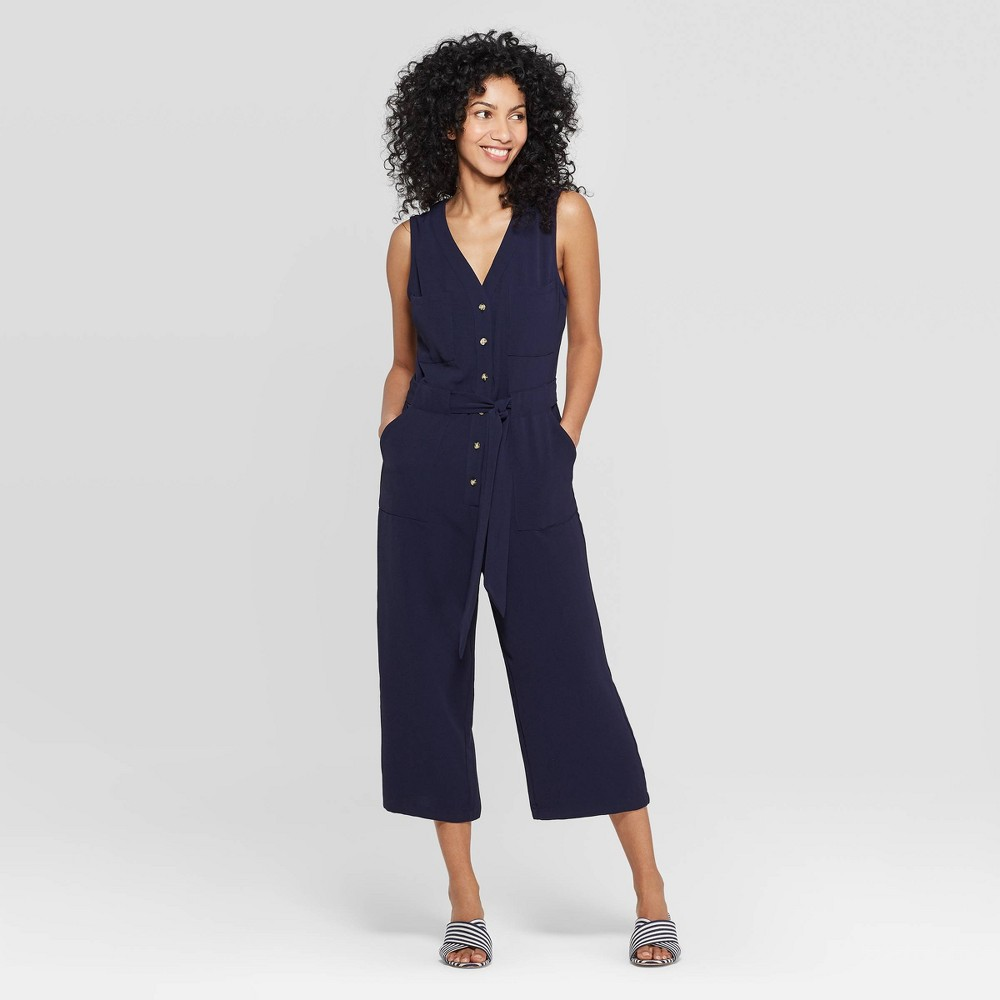 Women's Sleeveless V-Neck Button Front Jumpsuit - A New Day Navy (Blue) L