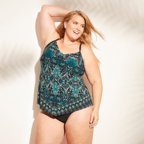 6e60932d8d601 Women s Plus Size Halter Tankini Top - Aqua Green® Blue Print 20W ...