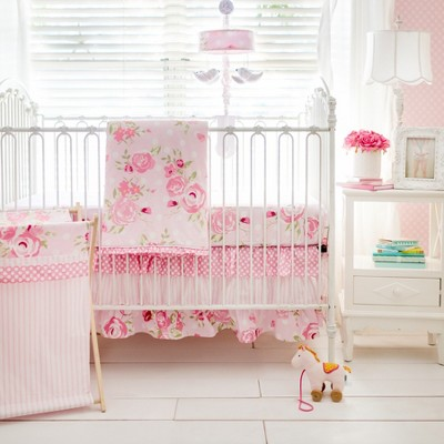 Crib Bedding Set My Baby Sam White Pink