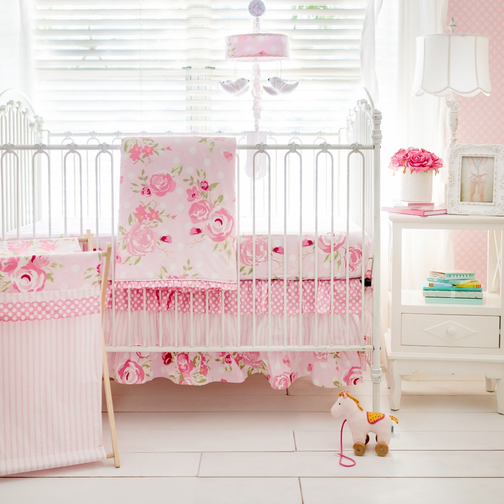 Image of Crib Bedding Set My Baby Sam White Pink