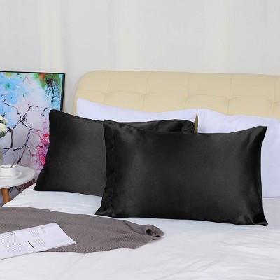 "2 Pcs 20""x26""/ 20""x30""/ 20""x36""/20""x40"" Silk Satin for Hair and Face Pillow Case Black - PiccoCasa"