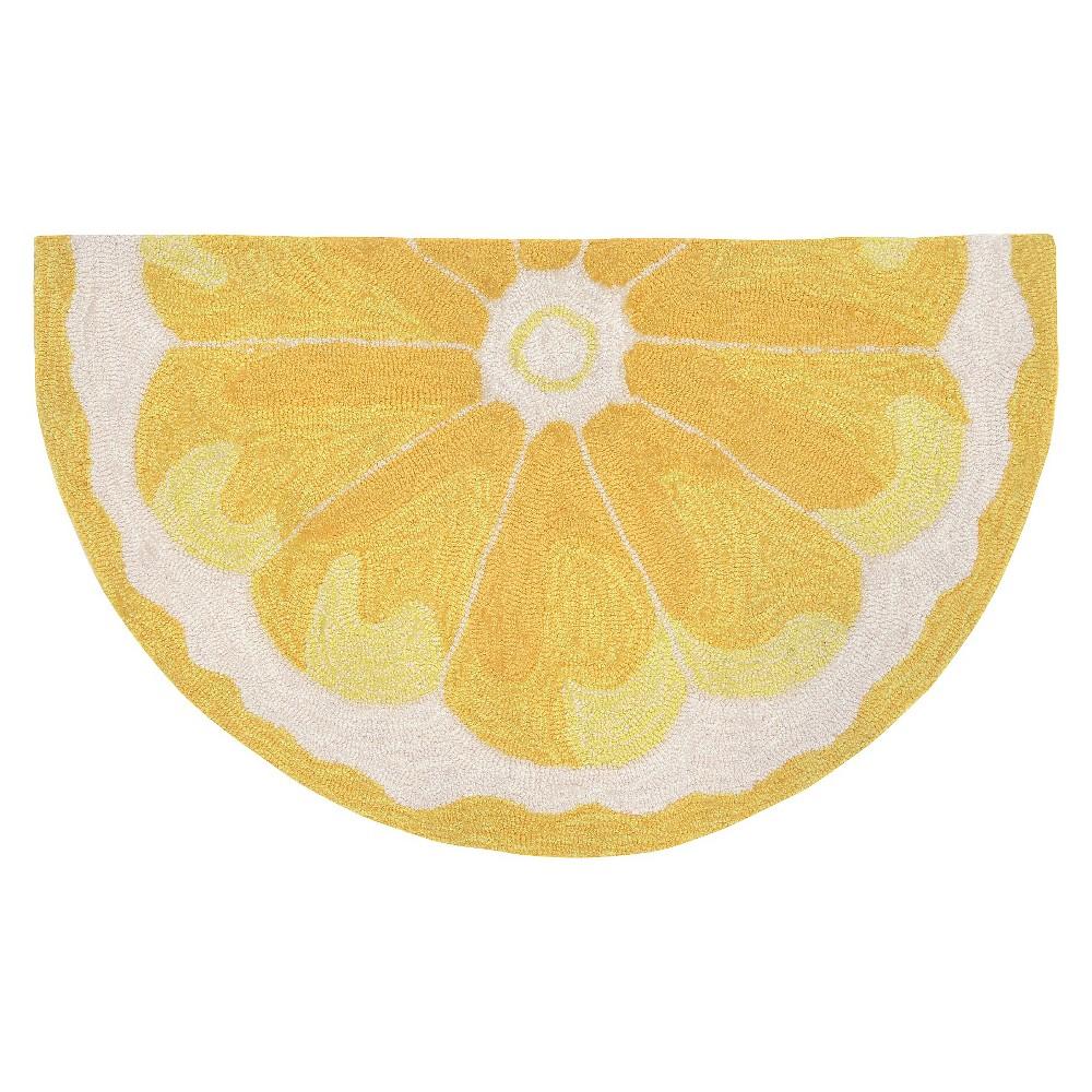 """Image of """"Yellow Lemon Slice Kitchen Rug (24""""""""X36"""""""" 1/2 Round) - Liora Manne"""""""