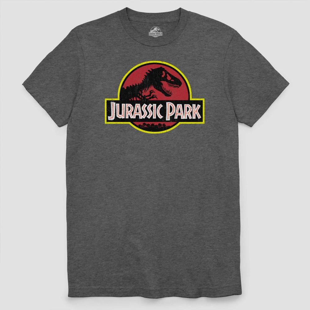 Men's Big & Tall Jurassic Park Short Sleeve Graphic T-Shirt Charcoal Heather 3XL, Gray