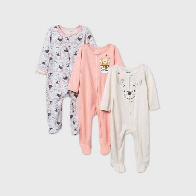 Baby Girls' 3pk Disney Winnie The Pooh Sleep N' Play - Beige 0-3M