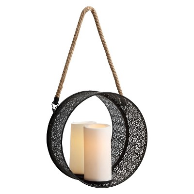Danya B™ Round Mirror Pillar Candle Sconce with Filigree Metal Frame and Hanging Rope