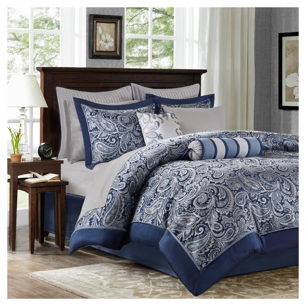Navy (Blue) Charlotte Complete Bed Set California King 12pc
