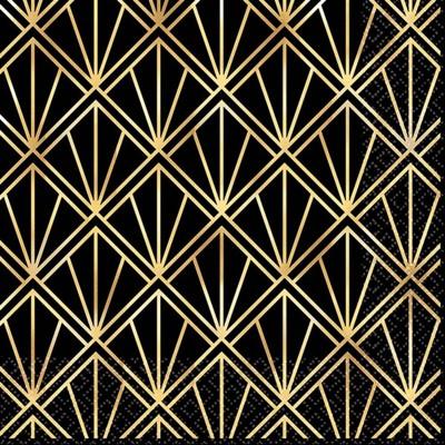 16ct Glitz & Glam Beverage Napkins Gold/Black