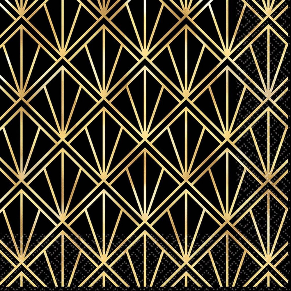 Image of 16ct Glitz & Glam Beverage Napkins Gold/Black