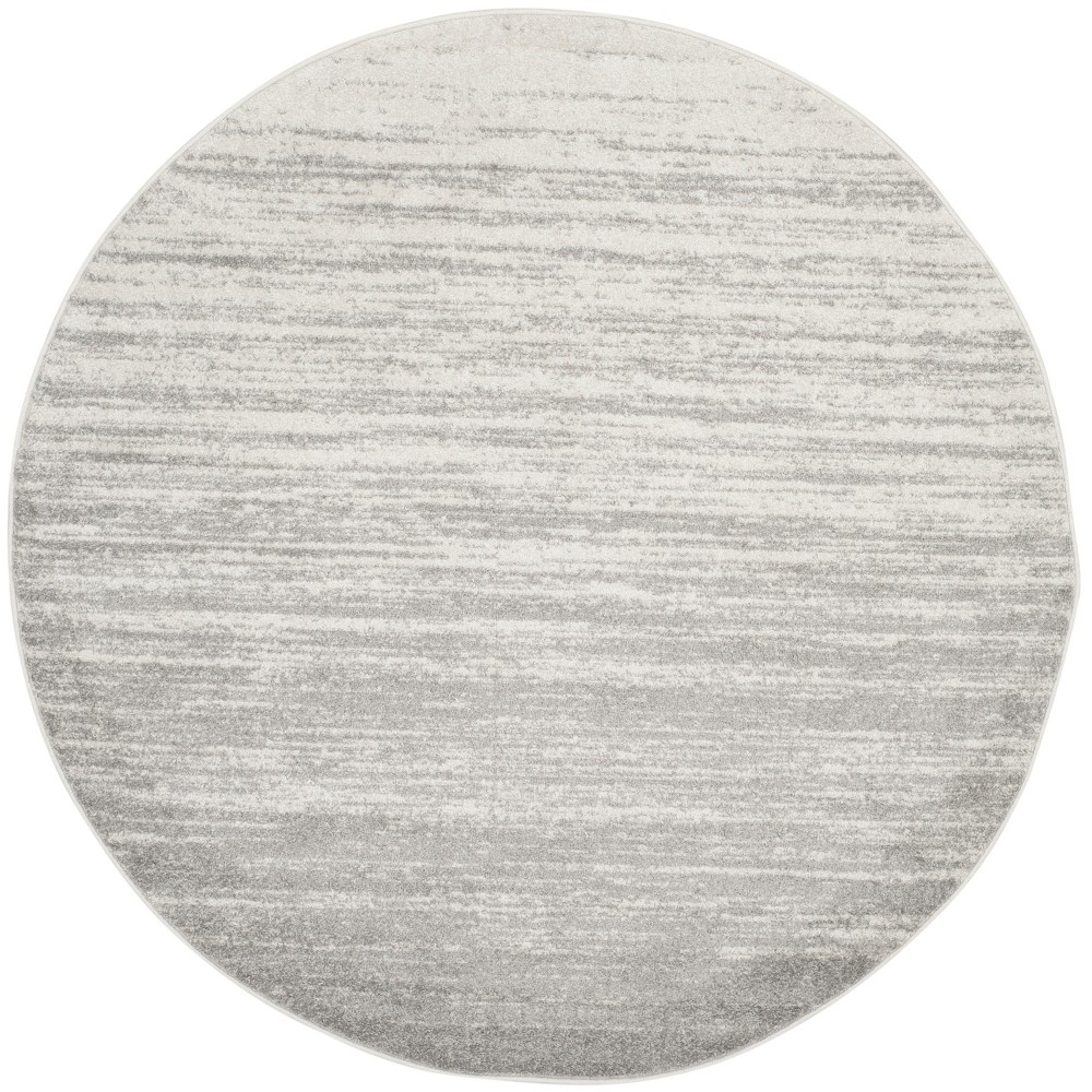 Ivory/Silver Solid Loomed Round Area Rug 5' - Safavieh