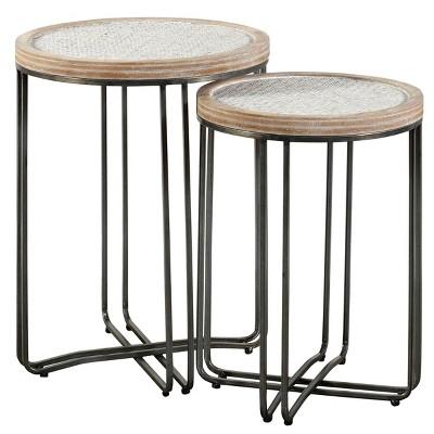 Set of 2 Ryder Round Nested Side Tables Tan/Black - Stylecraft